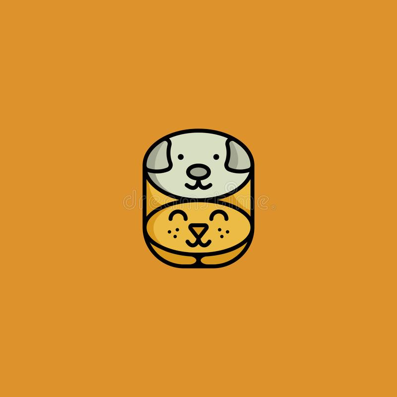 Kota i psa logo ilustracji