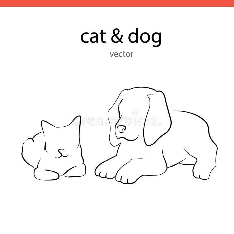 Kota i psa sylwetki wektorów linie royalty ilustracja