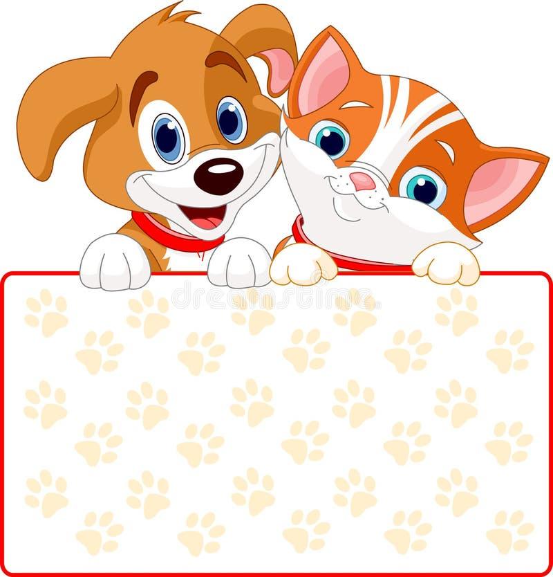 Kota i psa znak royalty ilustracja