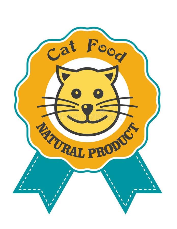 Kota jedzenia odznaka lub emblemat ilustracji