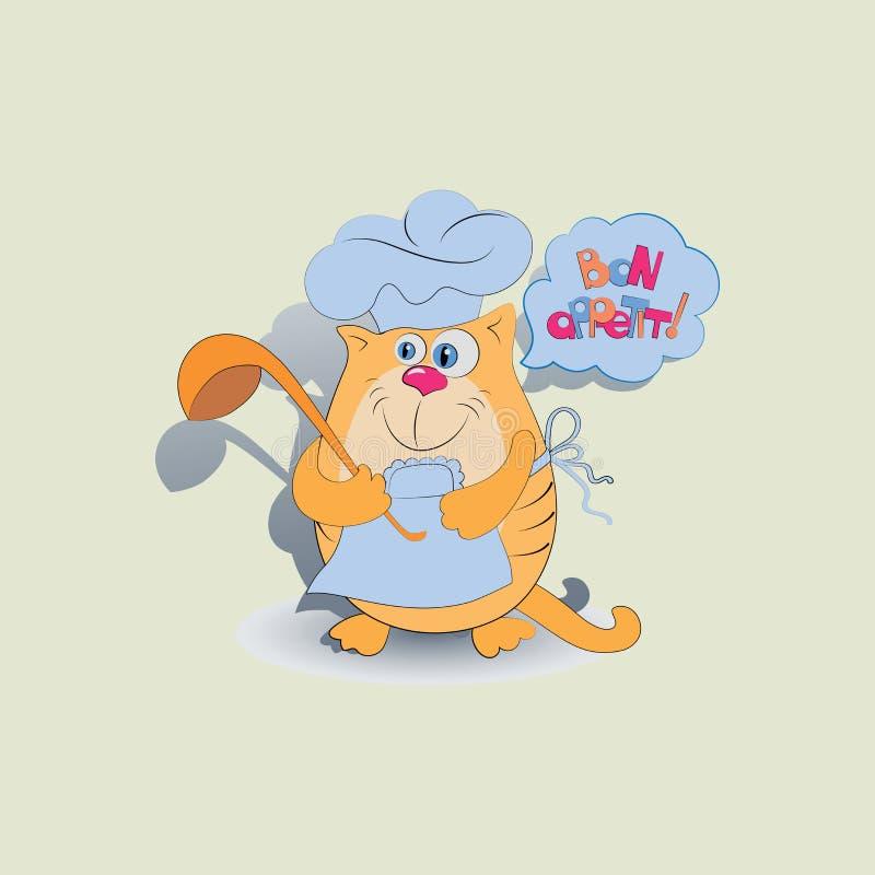Kota jego i kucharz życzenie bonu oskoma! ilustracji