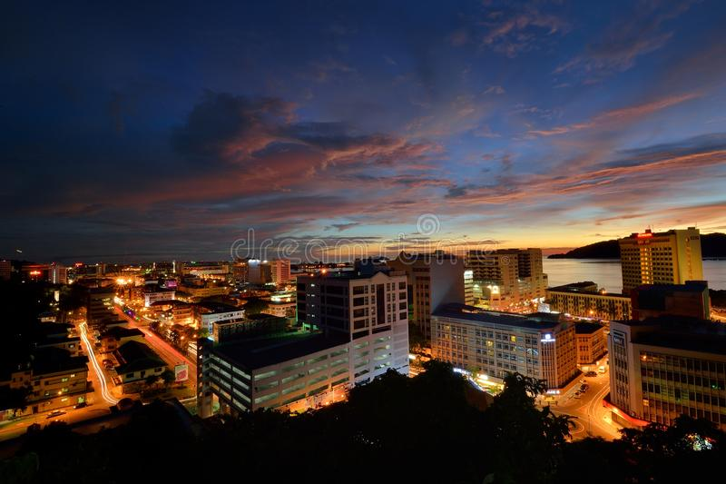 KOTA KINABALU CITY. Kota Kinabalu is the capital of Malaysia's Sabah state in the northern part of the island of Borneo. Often referred to as KK, it's a royalty free stock photo