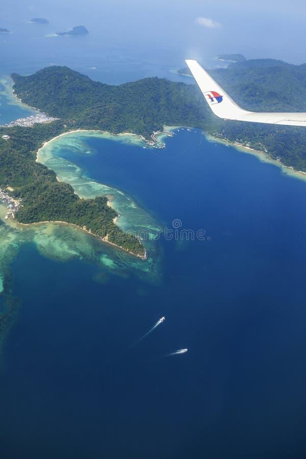 Aerial View Of Pulau Gaya Sabah Malaysia. Kota Kinabalu, Malaysia - March 23: Aerial view of Gaya Island, Sabah on board a Malaysia Airlines flight on March 23 royalty free stock photos