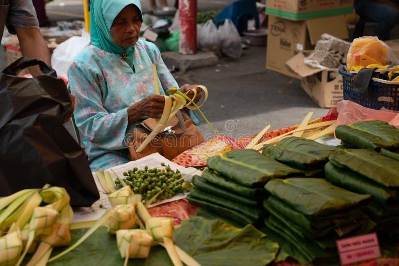 Kota Kinabalu Niedziela Gaya Uliczny rynek fotografia royalty free