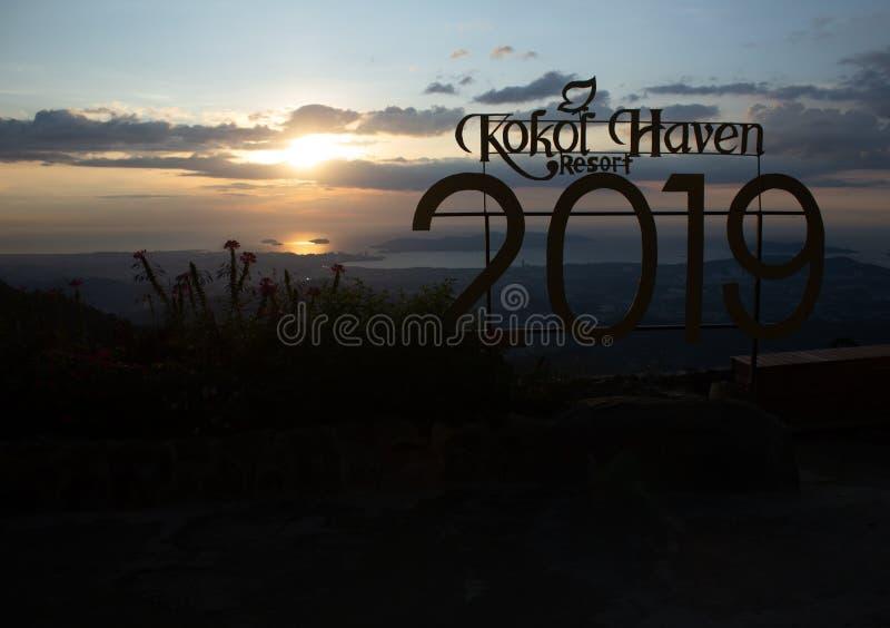 Kota Kinabalu, Sabah / Malaysia - October 18 2019: Beautiful view of Kota Kinabalu landscape during Sunset from Kokol Haven Resort royalty free stock photography