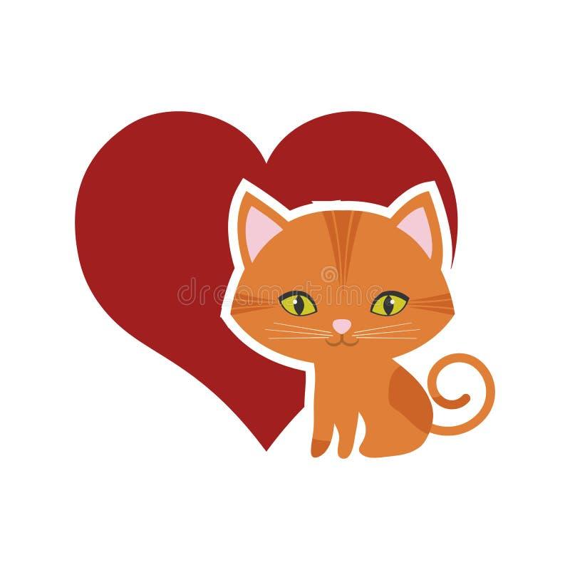 kota koci ciekawy mały czerwony serce royalty ilustracja