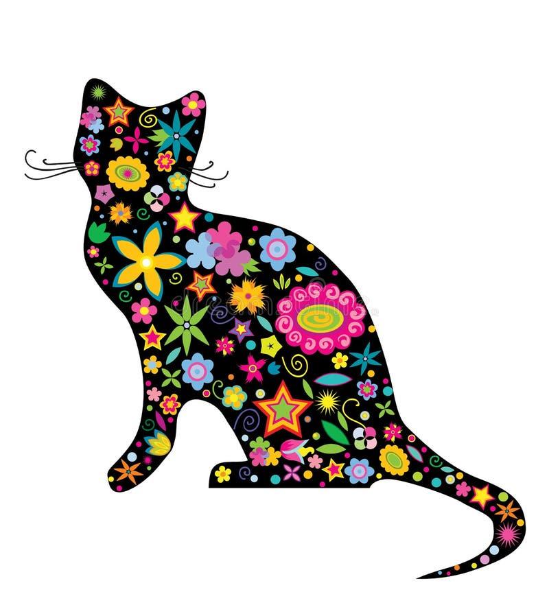 kota kwiatów sylwetka royalty ilustracja