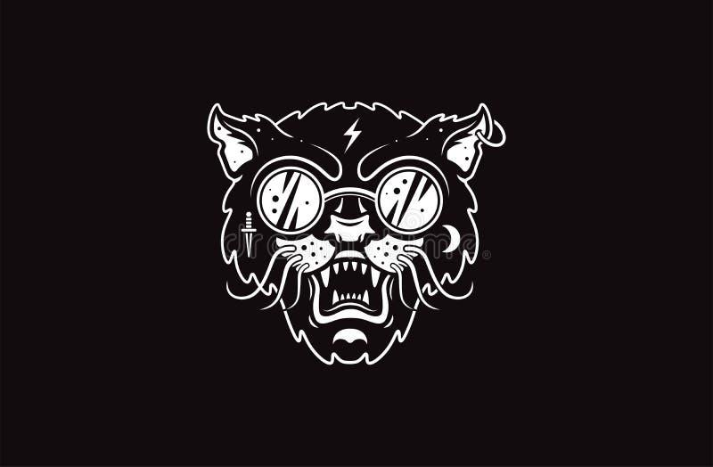 Kota loga ilustracja Zły kot Emblemata projekt na czarnym tle obraz royalty free