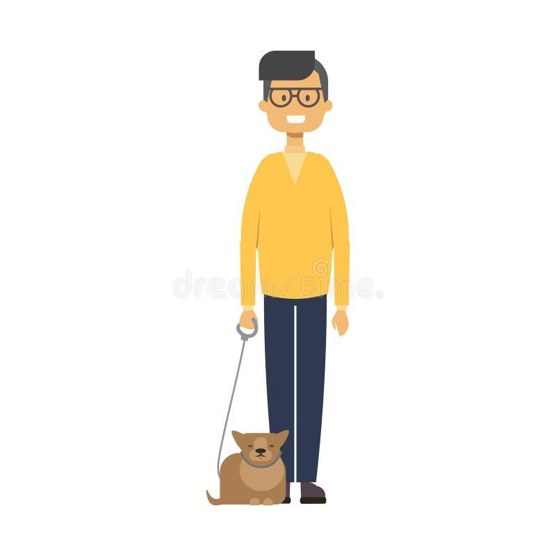 kota mężczyzna odprowadzenie pełna długości chłopiec z zwierzętami domowymi na białego tła ślicznym facecie, szczęśliwy rodzinny  ilustracji