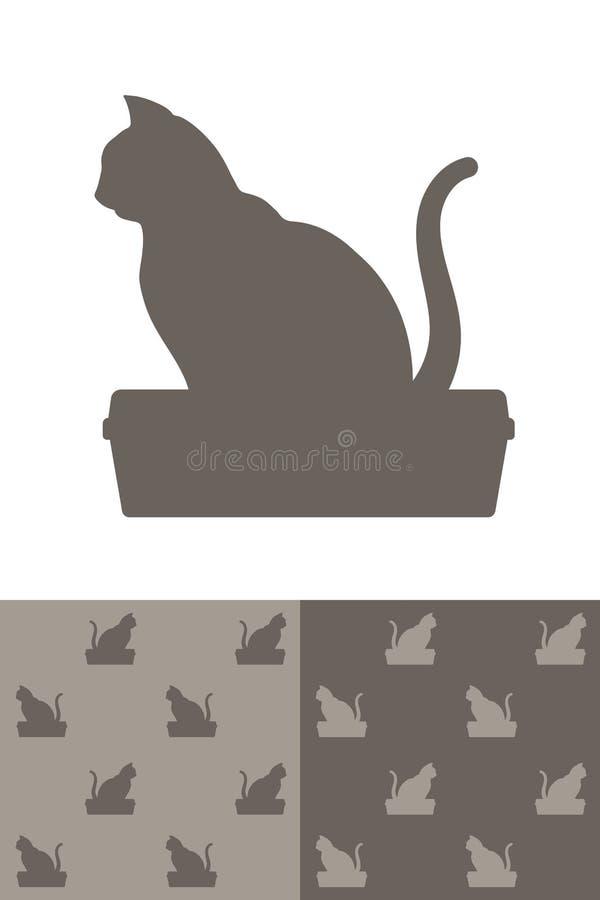Kota obsiadanie na ściółki pudełka sylwetki ikonie ilustracji