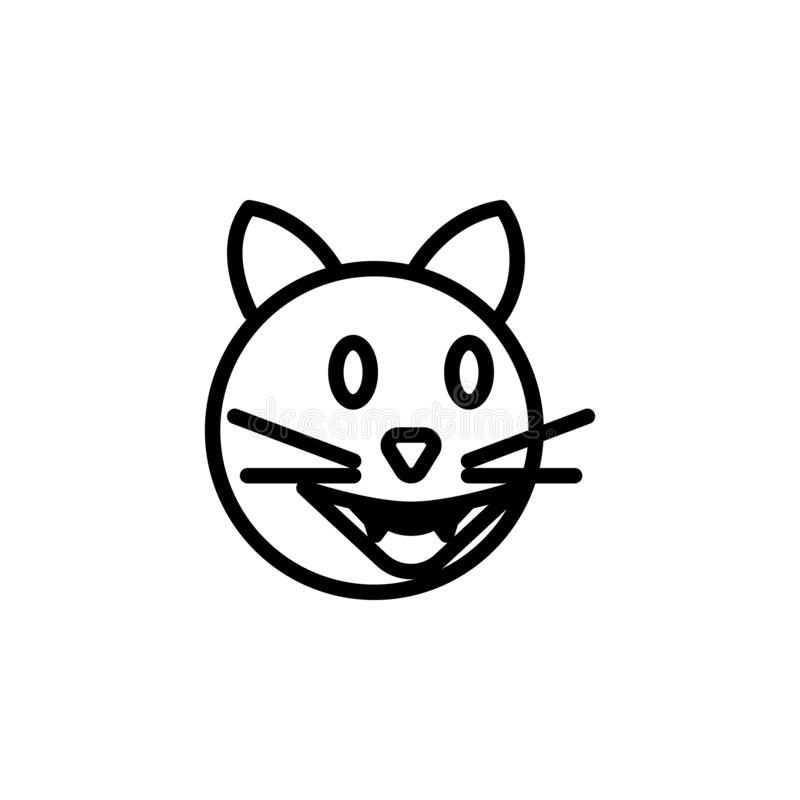 Kota płaczu emoji konturu roześmiana ikona Znaki i symbole mog? u?ywa? dla sieci, logo, mobilny app, UI, UX ilustracja wektor