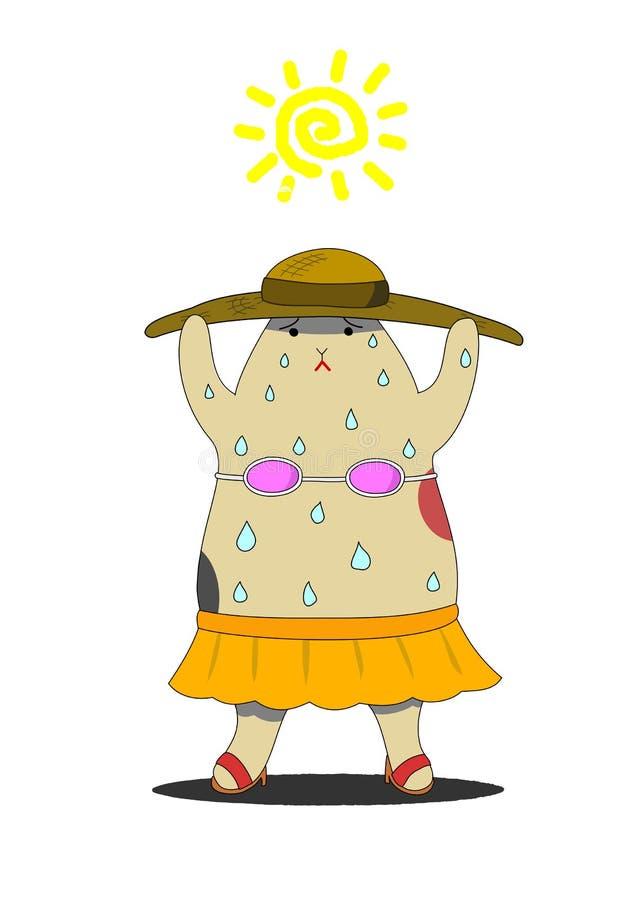 Kota pocenie pod słońcem ilustracja wektor