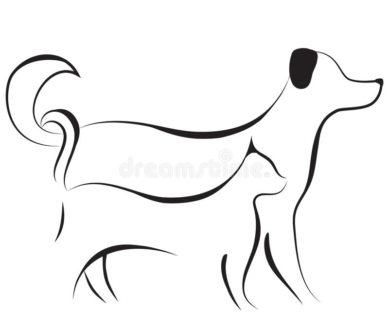 kota psa nakreślenia wektor royalty ilustracja
