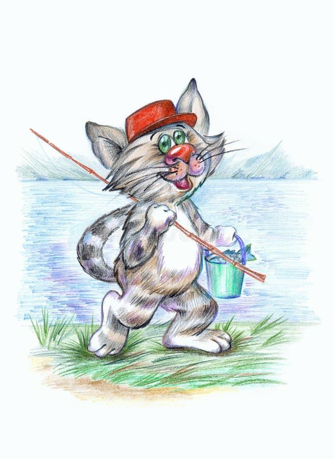 kota rybak ilustracji