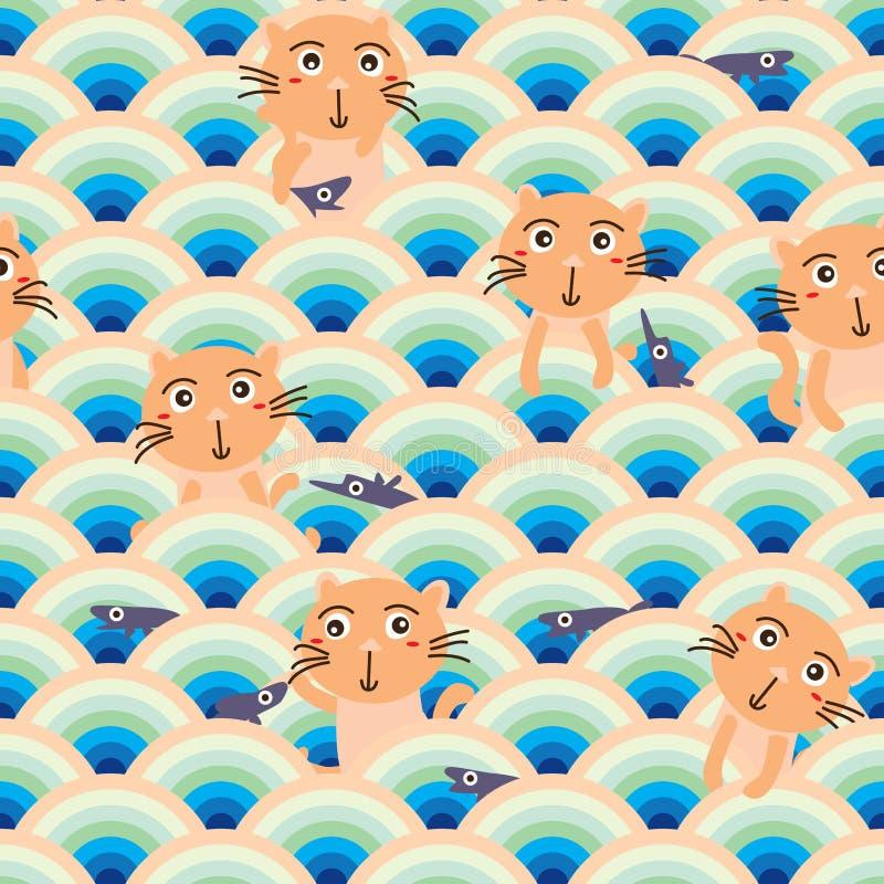 Kota rybiego przyrodniego okręgu bezszwowy wzór ilustracja wektor