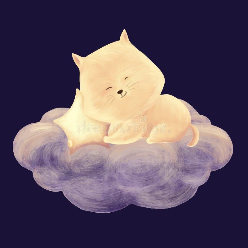 Kota sen na chmurze ilustracja wektor