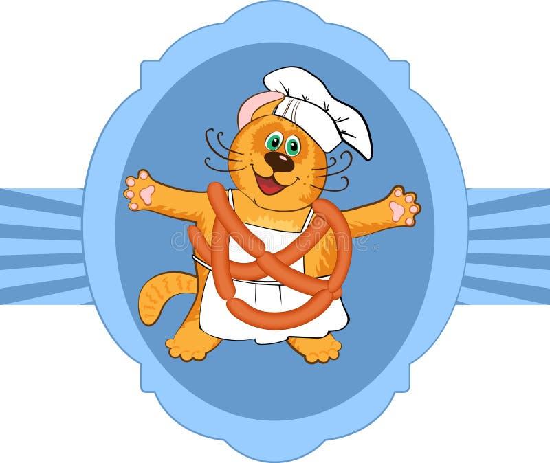 Kota szefa kuchni kucharz royalty ilustracja