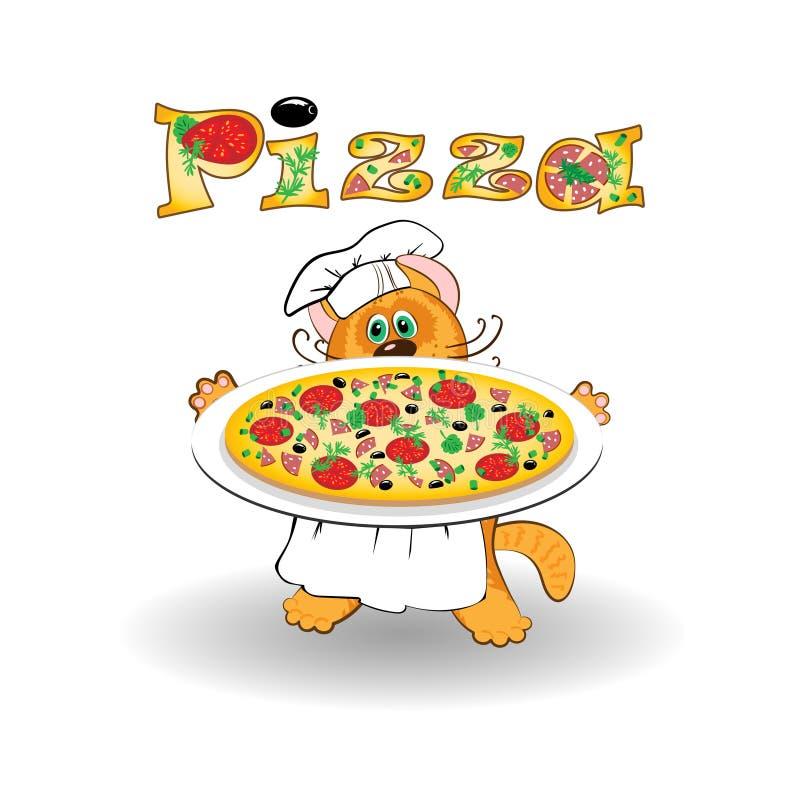 Kota szefa kuchni pizza i kucharz royalty ilustracja