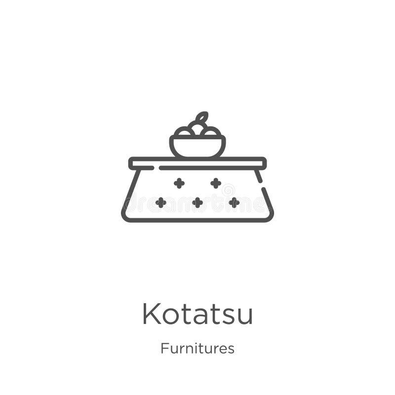 kotatsu ikony wektor od furnitures inkasowych Cienka kreskowa kotatsu konturu ikony wektoru ilustracja Kontur, cienieje kreskoweg royalty ilustracja