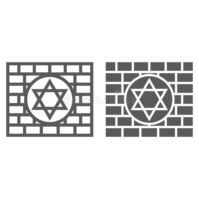 Kotel line and glyph icon, religion and judaism, jewish wall sign, vector graphics, a linear pattern on a white. Background, eps 10 vector illustration