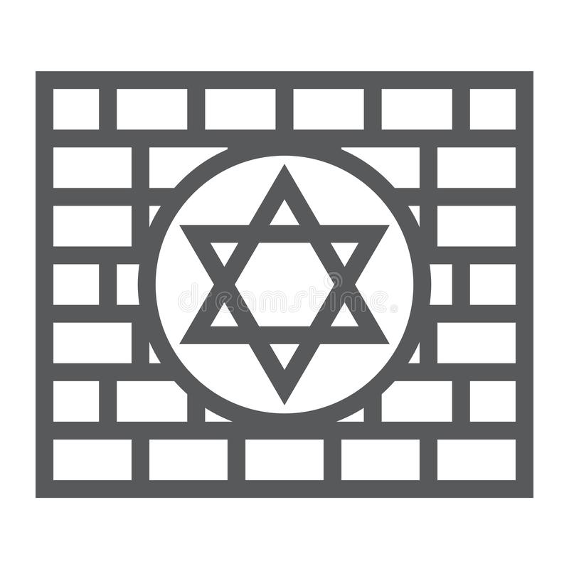 Kotel line icon, religion and judaism, jewish wall sign, vector graphics, a linear pattern on a white background. Kotel line icon, religion and judaism, jewish vector illustration