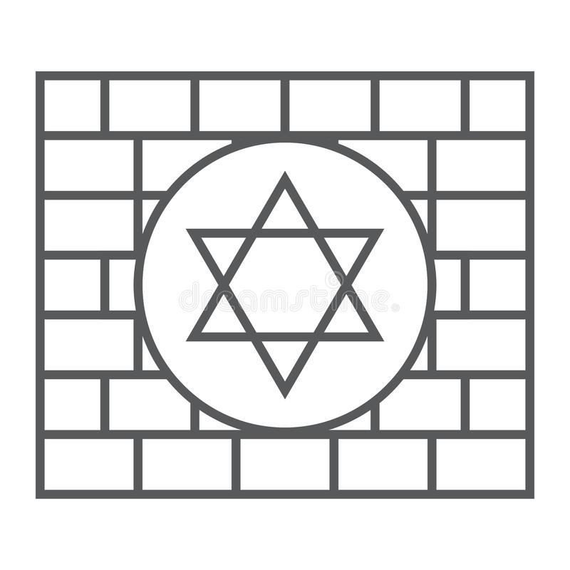 Kotel thin line icon, religion and judaism, jewish wall sign, vector graphics, a linear pattern on a white background. Kotel thin line icon, religion and royalty free illustration