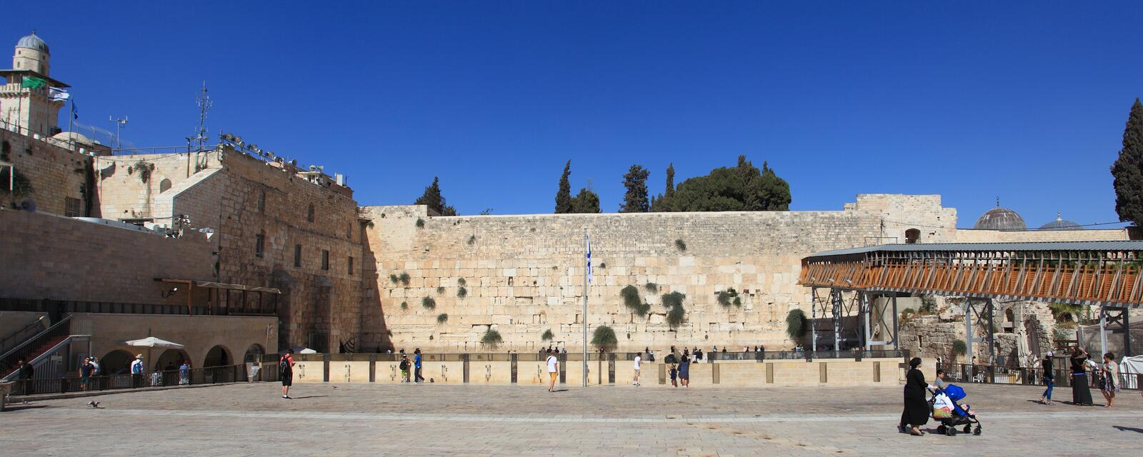 Kotel Western Wall Plaza, Jerusalem, Israel. Frontal view of the Western Wall (or Wailing Wall or Kotel) Plaza in Jerusalem, Israel. It is an ancient wall in the stock photography