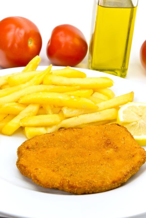 Kotelett, panieren-mit Pommes-Frites lizenzfreies stockfoto