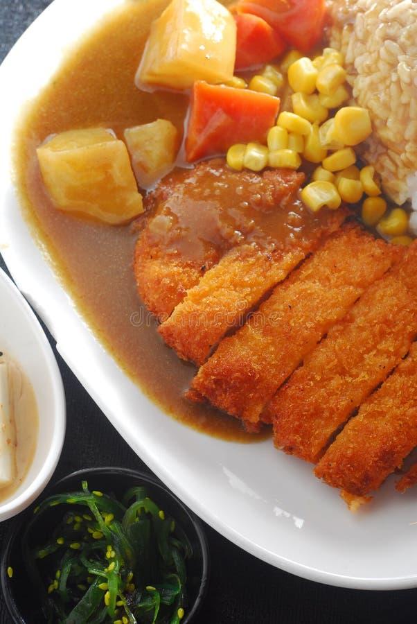 Kotelett-Schweinefleisch-Reis stockfotografie