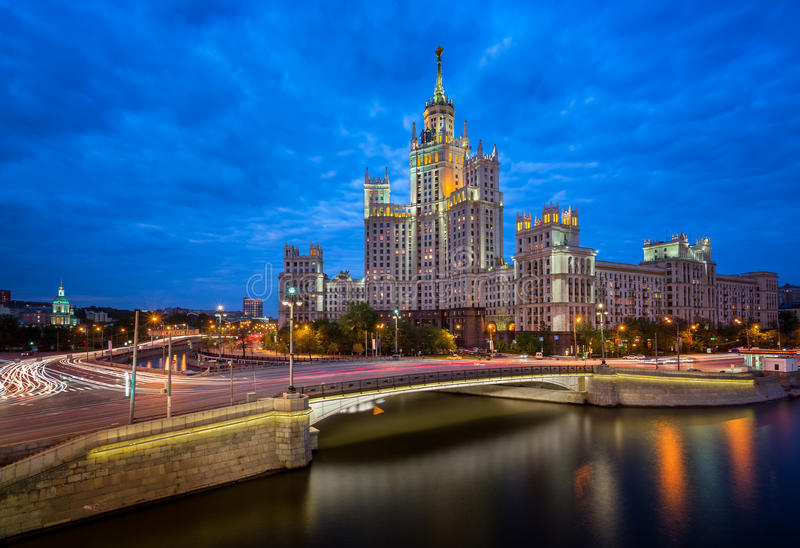 Kotelnicheskaya Embankment Building. One of the Moscow Seven Sisters in the Evening, Moscow, Russia royalty free stock images