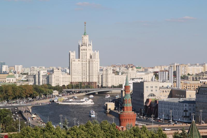 Kotelnicheskaya Embankment Building and the city skyline, Moscow. Kotelnicheskaya Embankment Building is one of seven Stalinist skyscrapers stock image