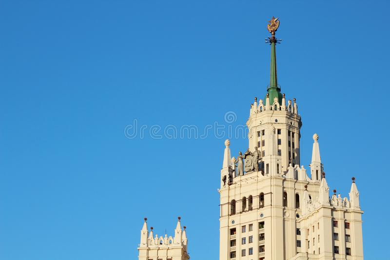 Kotelnicheskaya Embankment Building, Moscow. Kotelnicheskaya Embankment Building is one of seven Stalinist skyscrapers royalty free stock images