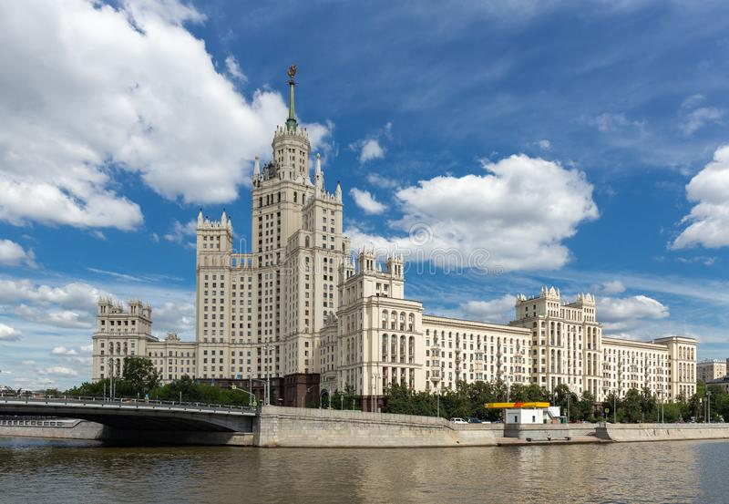 Kotelnicheskaya Embankment Building, one of seven Stalinist skyscrapers in Moscow. MOSCOW, RUSSIA - June 25, 2018: Kotelnicheskaya Embankment Building, one of royalty free stock photo