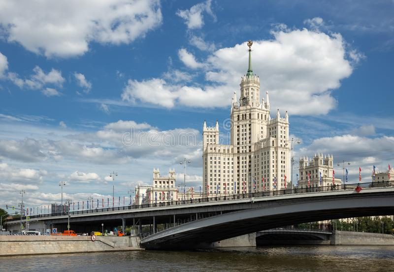 Kotelnicheskaya Embankment Building, one of seven Stalinist skyscrapers in Moscow. MOSCOW, RUSSIA - June 25, 2018: Kotelnicheskaya Embankment Building, one of stock images