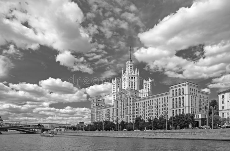 Kotelnicheskaya Embankment Building, one of seven Stalinist skyscrapers in Moscow. MOSCOW, RUSSIA - June 25, 2018: Kotelnicheskaya Embankment Building, one of stock photography