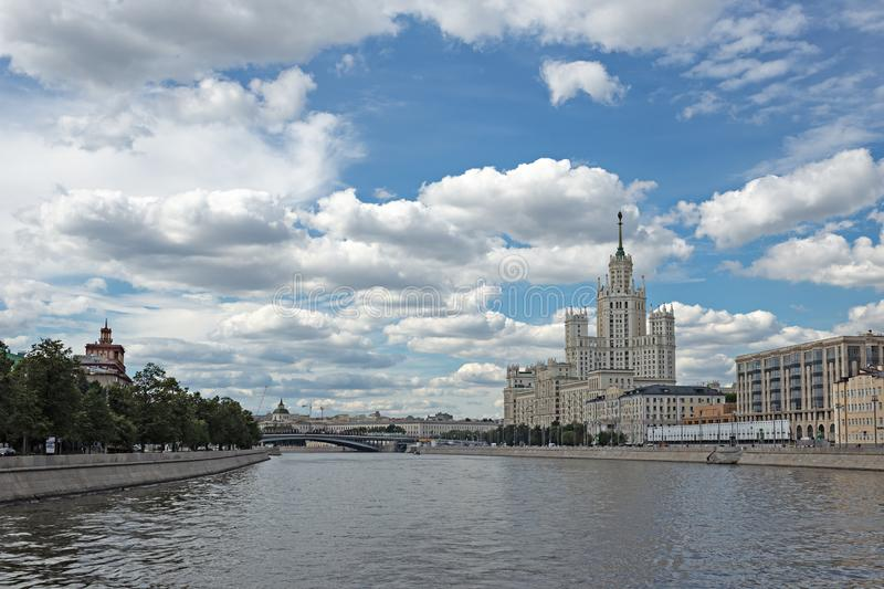 Kotelnicheskaya Embankment Building, one of seven Stalinist skyscrapers in Moscow. MOSCOW, RUSSIA - June 25, 2018: Kotelnicheskaya Embankment Building, one of stock photo
