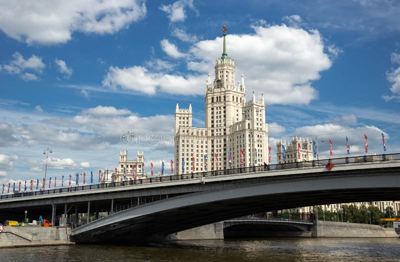 Kotelnicheskaya Embankment Building, one of seven Stalinist skyscrapers in Moscow. MOSCOW, RUSSIA - June 25, 2018: Kotelnicheskaya Embankment Building, one of stock image