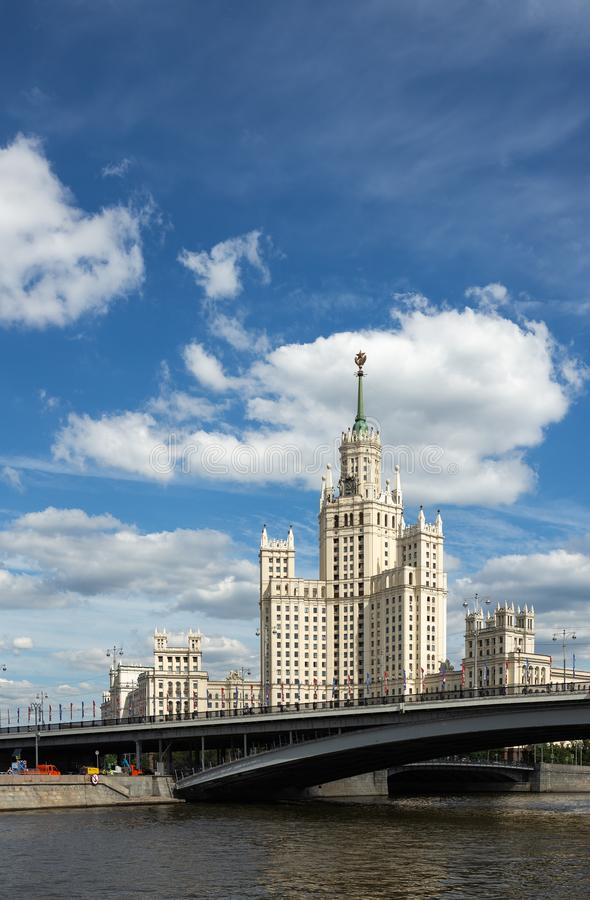 Kotelnicheskaya Embankment Building, one of seven Stalinist skyscrapers in Moscow. MOSCOW, RUSSIA - June 25, 2018: Kotelnicheskaya Embankment Building, one of stock photos