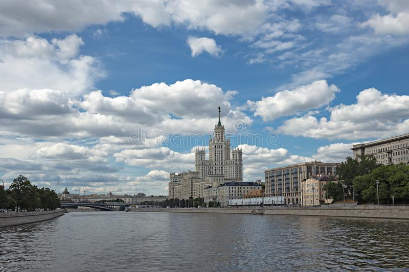 Kotelnicheskaya Embankment Building, one of seven Stalinist skyscrapers in Moscow. MOSCOW, RUSSIA - June 25, 2018: Kotelnicheskaya Embankment Building, one of royalty free stock image