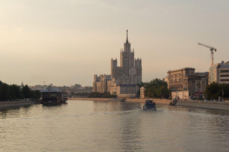Kotelnicheskaya Embankment Building viewed from the river. Kotelnicheskaya Embankment Building viewed from the Moskva River stock image