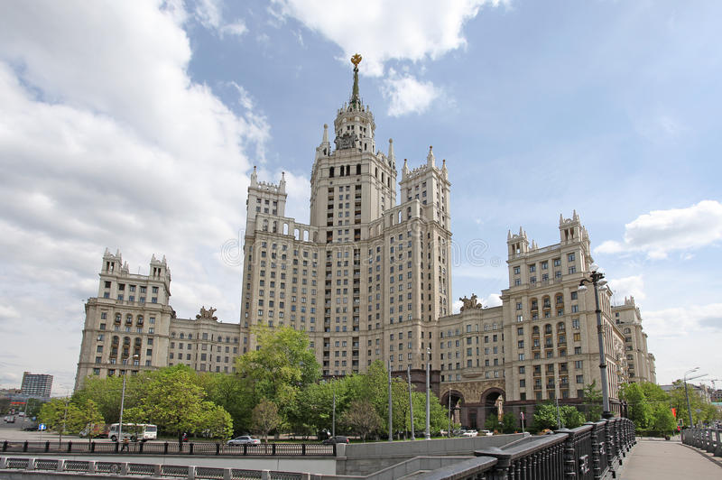 Kotelnicheskaya embankment, Moscow. One of the Seven Sisters sky-scrapers built by the order of Stalin, apartment house in Kotelnicheskaya embankment, Moscow stock photography
