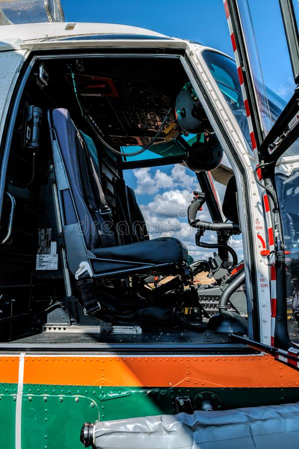 Cockpit interior of Airbus Helicopters H215 formerly Eurocopter AS332 Super Puma heavy-lift utility aircraft OH-HVP by Finland`. KOTKA, FINLAND - Aug 10, 2019 royalty free stock photography
