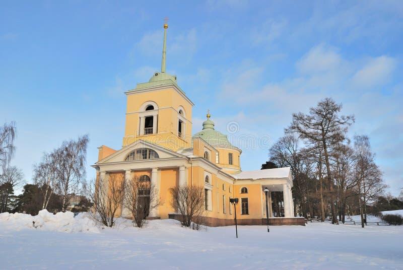 Kotka Finland. St Nicholas ortodoxkyrka fotografering för bildbyråer