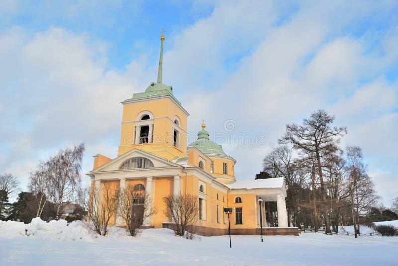 Kotka Finland. St Nicholas ortodoxkyrka arkivfoto