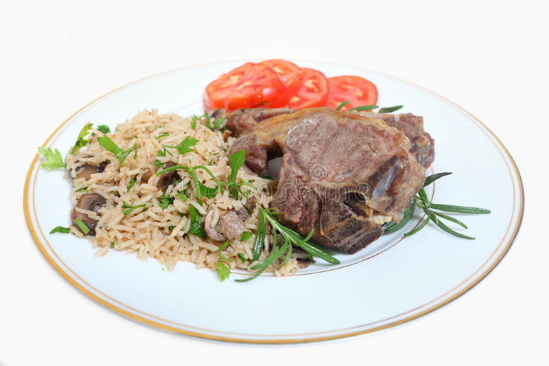 kotleciki lamb ryż zdjęcia royalty free