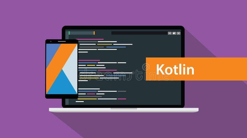 Kotlin流动应用编程语言编制程序软件技术 库存例证