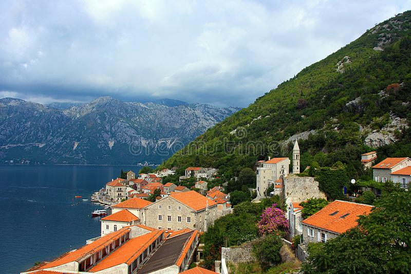 Kotor bay and Old Town picturesque scenery in summer. Montenegro stock image