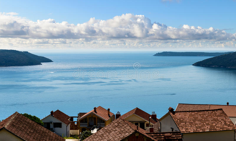 Kotor bay seascape. Herceg Novi, Montenegro, Balkans, Europe stock photos
