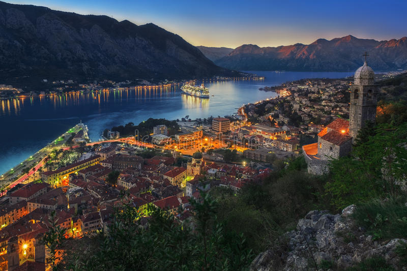 Kotor Bay & Sunset royalty free stock image