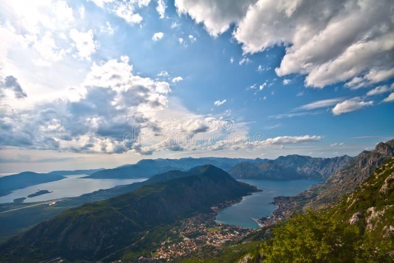 Kotor and Boka Kotorska Bay. Panoramic view on Kotor and Boka Kotorska Bay, Montenegro stock photo